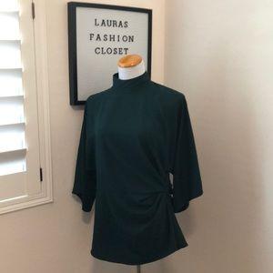 Topshop emerald green mock blouse size 10